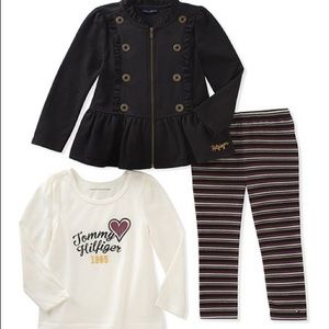 Tommy Hilfiger Black Ruffle-Hem Zip-Up Jacket Set
